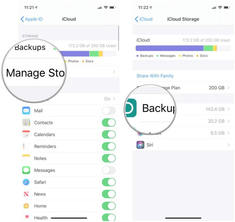 Check how much space you have in iCloud storage on iPhone and iPad by showing steps: Tap Manage Storage, tap Backups