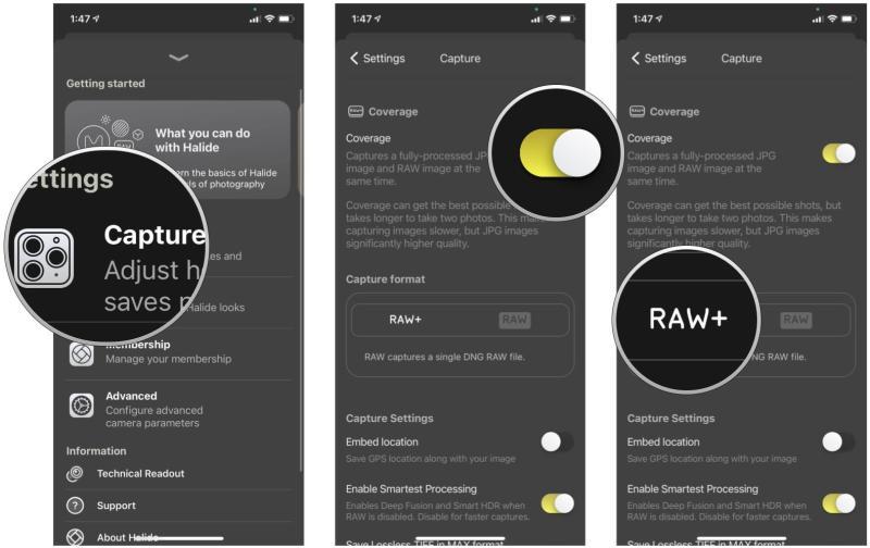 Cách chụp ảnh RAW trên iPhone và iPad bằng cách hiển thị các bước: Trong Cài đặt Halide, chạm vào Chụp, bật Độ phủ, chọn RAW + hoặc RAW