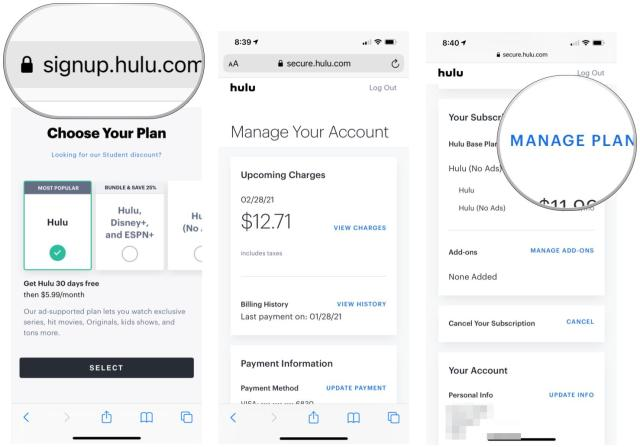 To register for Live TV, navigate to signup.hulu.com from your web browser. Log in with your Hulu login name. Choose a management plan.