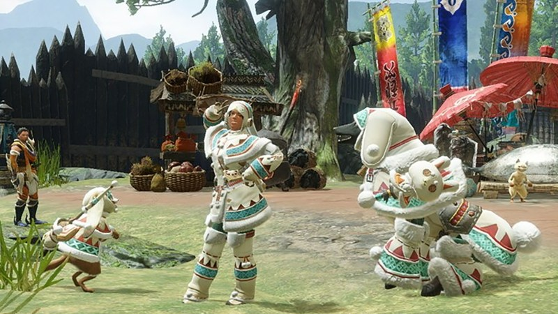 Mhr Player With Palico And Palimute