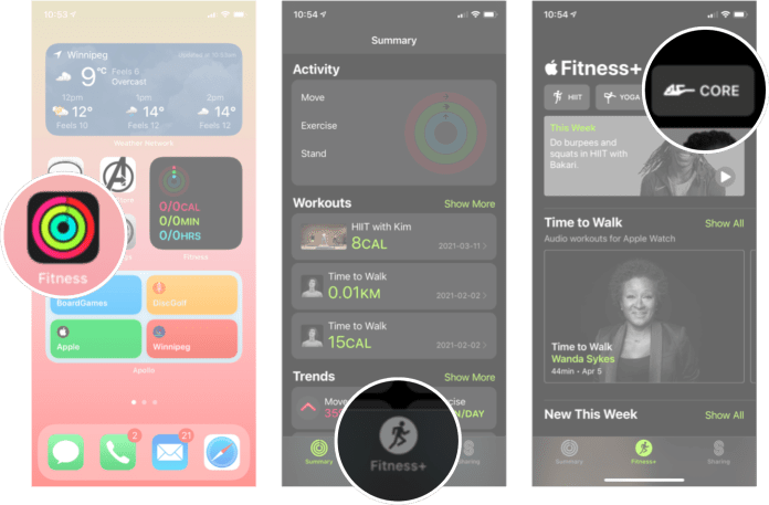 Filter Apple Fitness Plus By Workout: Launch the fitness app, tap the fitness+ tab, and then tap the type of workout you want.
