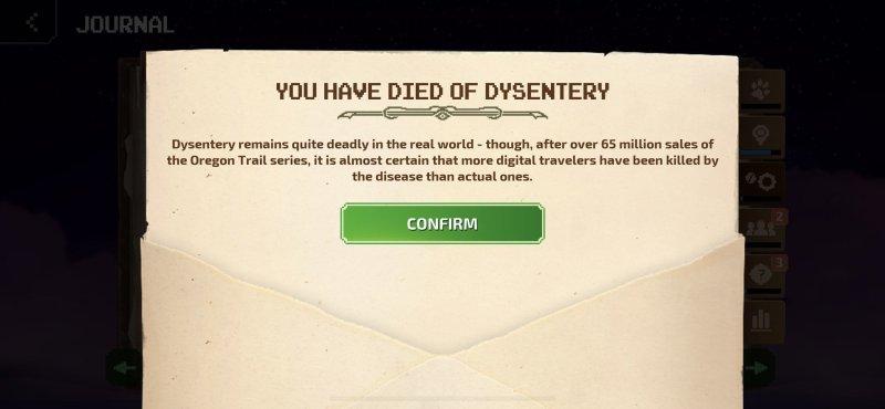 Oregon Trail Died Dysentery