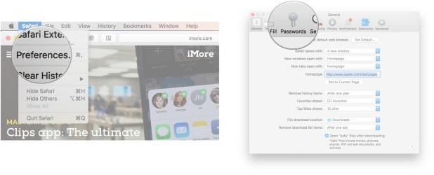 Launch Safari, click Safari, click Preferences, click Passwords