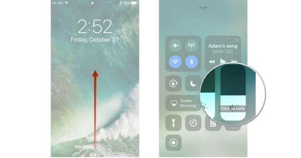 Launch Control Center, swipe up and down on the volume slider