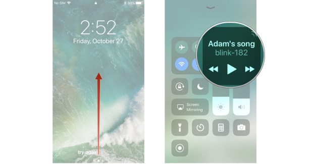 Swipe up from the bottom of your screen, hard press on the Now Playing widget
