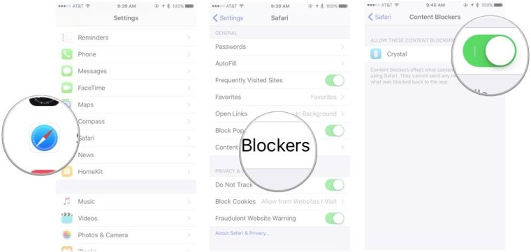 How to enable content blockers in iOS 9