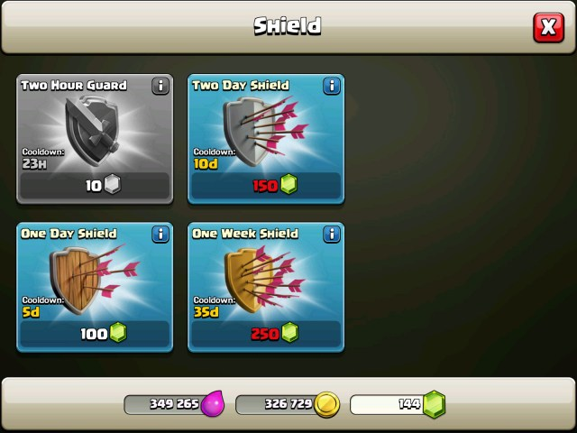 clash of clans - Shields