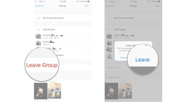 How to leave a Facebook group message conversation on iPhone and