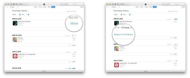 Click More next to the app for which you want a refund, click Report a Problem