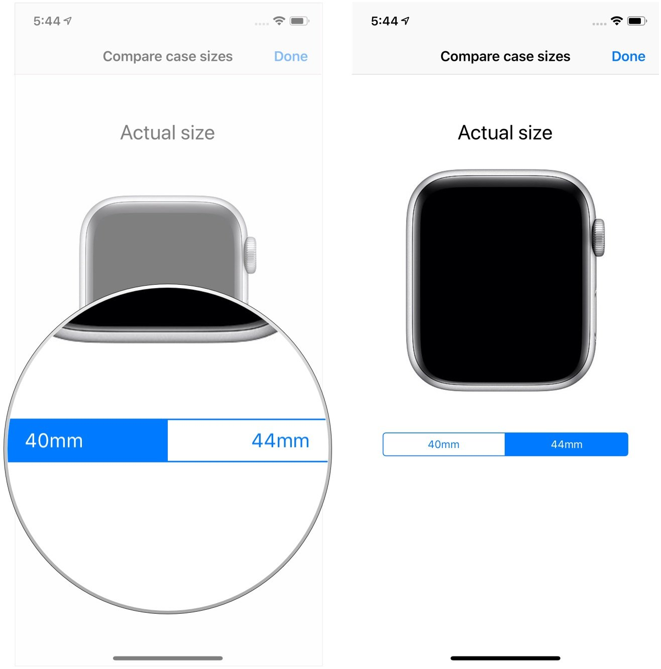 Hi, i plan to order a series 6 and i'm wondering if anyone has actually compared a 44mm & 40mm aw side by side for battery … How To Virtually Try On Both Apple Watch Sizes With The Apple Store App Imore
