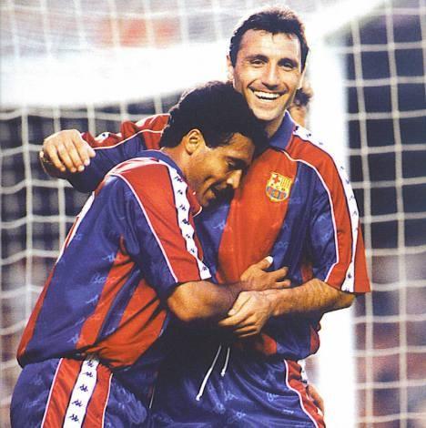 Romário e Stoichkov: baixinhos, marrentos e craques. Dupla inesquecível no Barça.