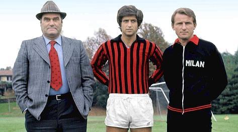 Nereo Rocco, Gianni Rivera e Giovanni Trapattoni: mitos do Milan nos anos 60.