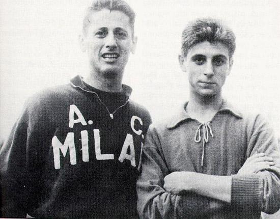 Um já consagrado Schiaffino e um garoto prodígio Rivera: troca de protagonismo em Milão.