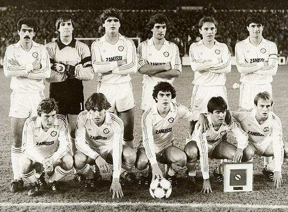 A garotada do Castilla campeão de 1983-1984: cinco jovens desse time entrariam para a história do Real Madrid principal.