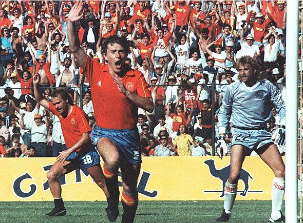Pela seleção espanhola, Butragueño trucidou a Dinamarca na Copa do Mundo de 1986.