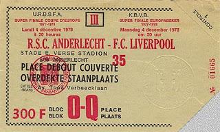Ingresso para a decisão da Supercopa da UEFA de 1978 entre Anderlecht e Liverpool.