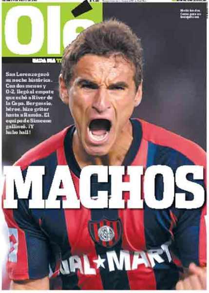 """A capa do tradicional jornal """"Olé"""", no dia seguinte ao jogo épico: machos!"""