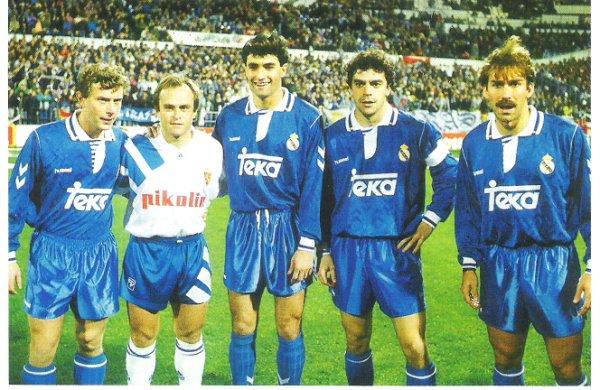 O quinteto do abutre: Butragueño, Pardeza, Míchel, Sanchís e Martín Vázquez.