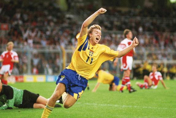 Brolin vibra: atacante seria a maior estrela da Suécia no mundial de 1994.