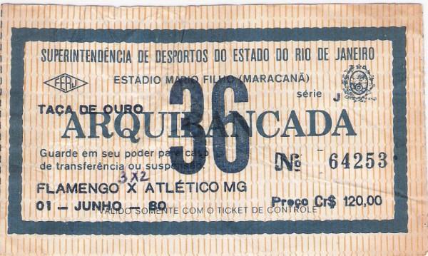 O ingresso para o espetáculo de 1º de junho de 1980.