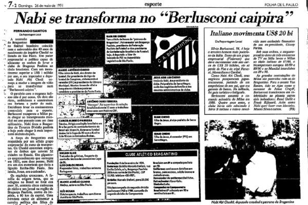 """""""Folha"""" destaca o trabalho de Nabi Abi Chedid após o titulo estadual de 1990."""