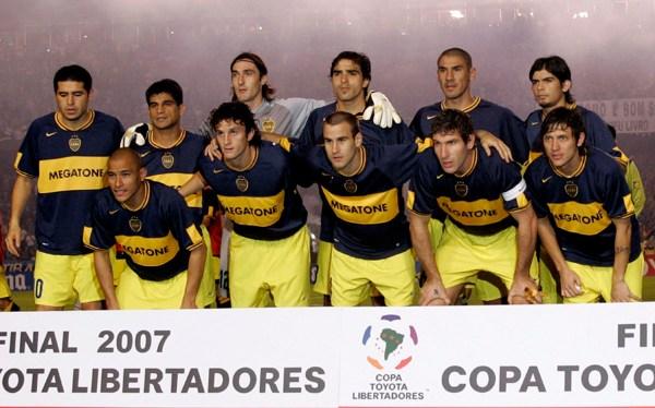 Boca Juniors team celebrate after winning the Copa Libertadores final game