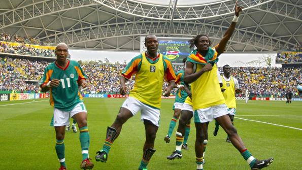 (From L-R) Senegal's forward El Hadji Diouf, forwa