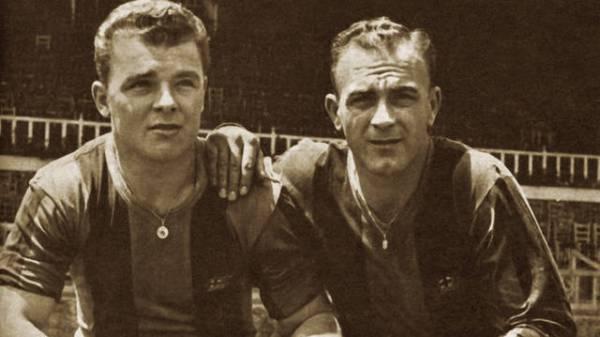 Kubala e Di Stéfano: quase a dupla jogou junta no Barcelona...