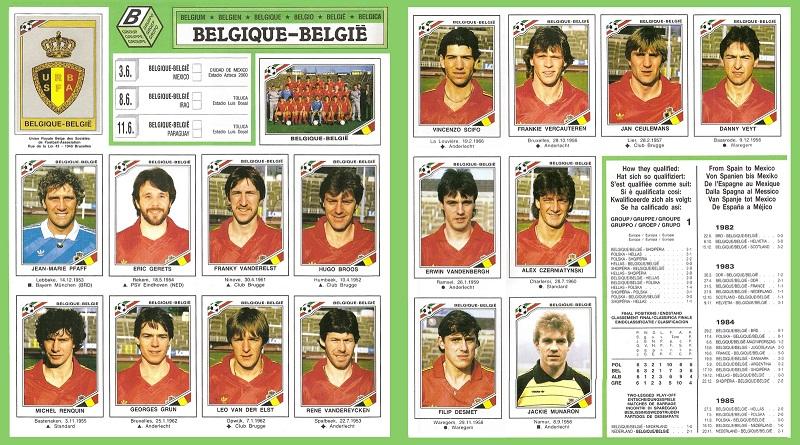 """As """"figurinhas"""" belgas na Copa de 1986."""
