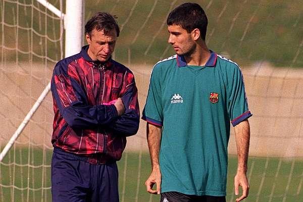 Cruyff e um novato Guardiola: transmissão de pensamentos e ensinamentos.