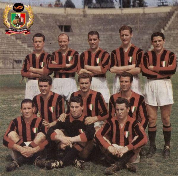 O Milan de 1951: Burini, Gren, Nordahl, Liedholm e Renosto. Annovazzi, Tognon e De Grandi. Silvestri, Buffon e Bonomi.