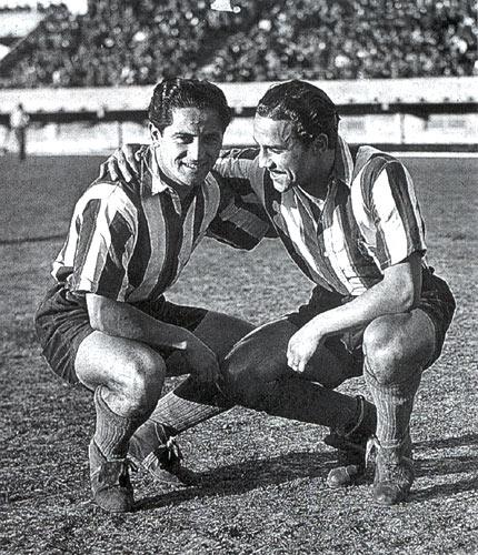 Pedernera e Moreno, lendas do futebol argentino.