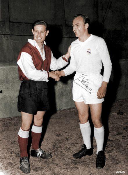 Kopa e Di Stéfano, em 1956: lendas seriam parceiros já na temporada seguinte.