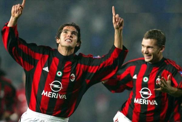Kaká e Shevchenko, ídolos do Milan e símbolos de uma geração.