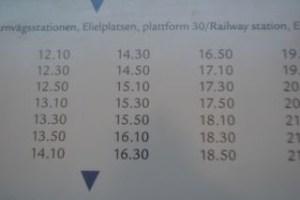 空港行きバスの時刻表