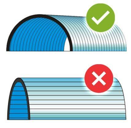 Pemasangan mengikuti arah lengkungan (kubah)