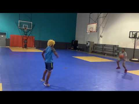 Basketball work, full court defensive slides,  passing and layup drill