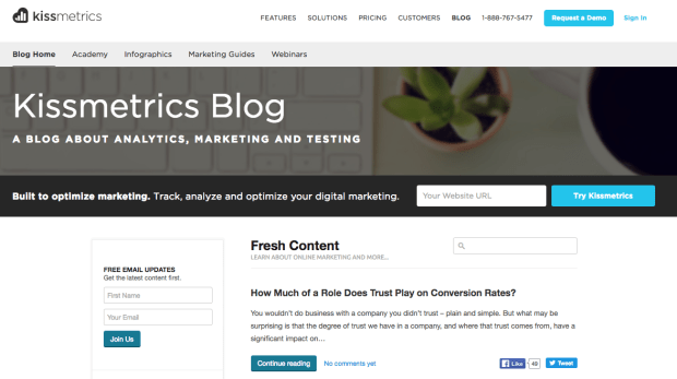 kissmetrics Blog.png?t=1505932326404&width=789&name=kissmetrics Blog - 10 Examples of Business Blogs that Rock
