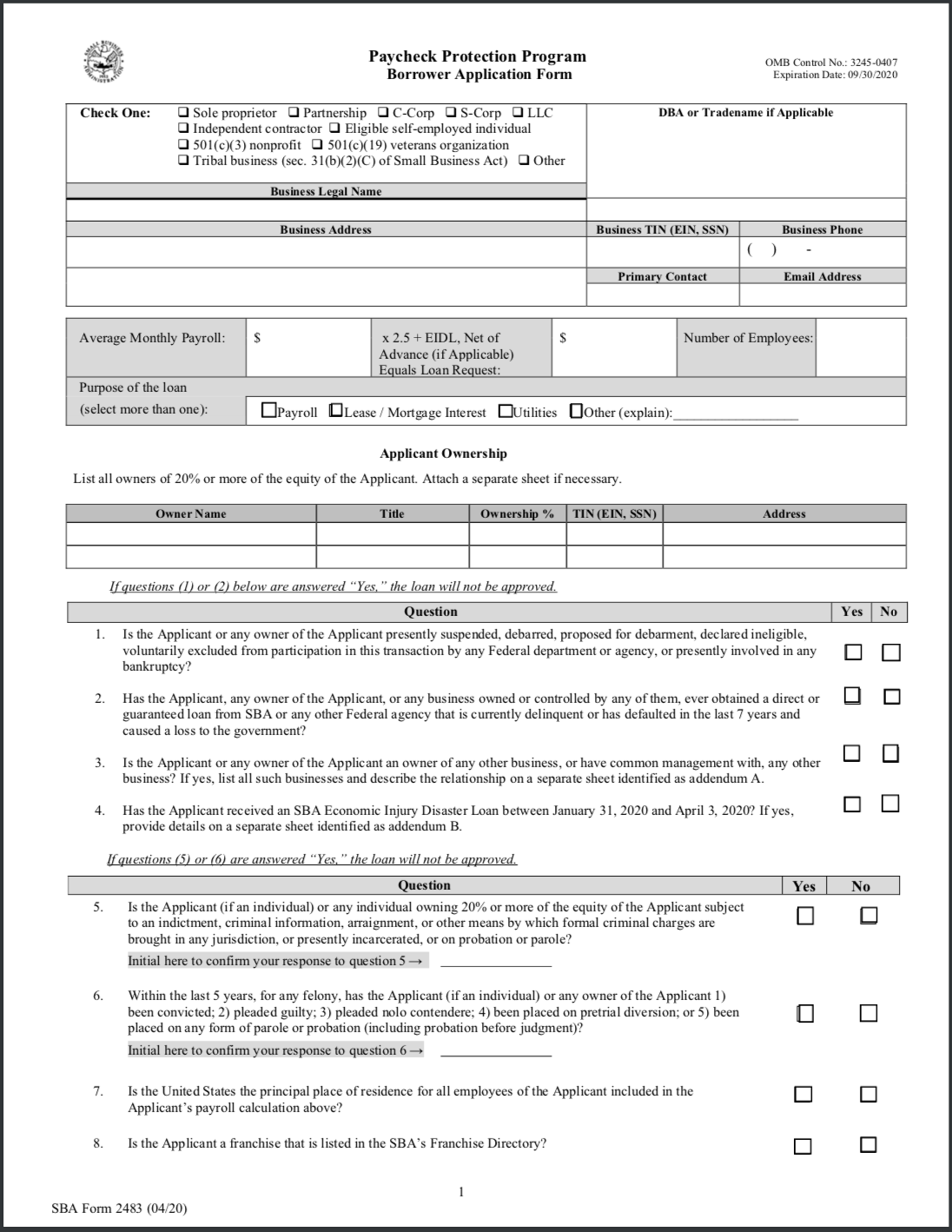 Paycheck Protection Program Application And Required