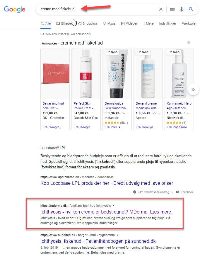 Google ranking på søgeord som ikke nævnes