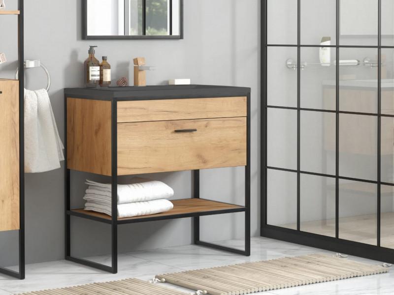 modern industrial loft vanity bathroom 600 cabinet sink unit 60cm free standing oak black metal frame brooklyn brooklyn 820 e 8003 60 lava black