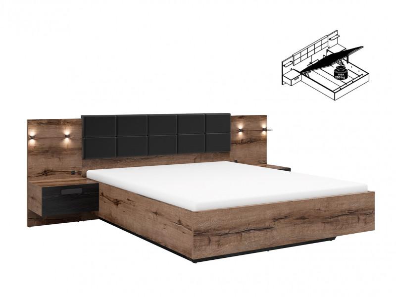 elegant king size bed frame built in bedside wall cabinets usb led underbed storage lighting oak black kassel l99 loz 160 b dmon dca