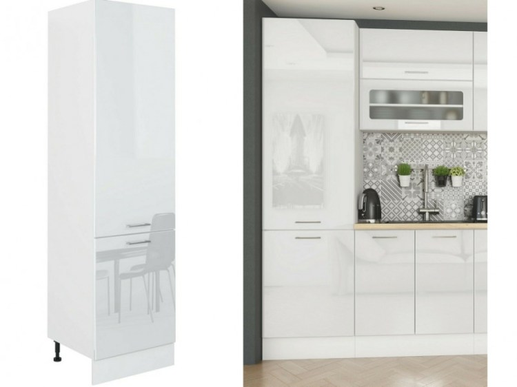 Modern White Gloss Tall Kitchen Larder Pantry 60cm Cabinet 2 Door Free Standing Unit Impact Furniture
