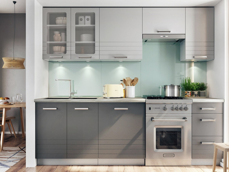 Free Standing Light Grey Mocca Dark Grey Kitchen Cabinets Cupboards Set 7 Units Impact Furniture
