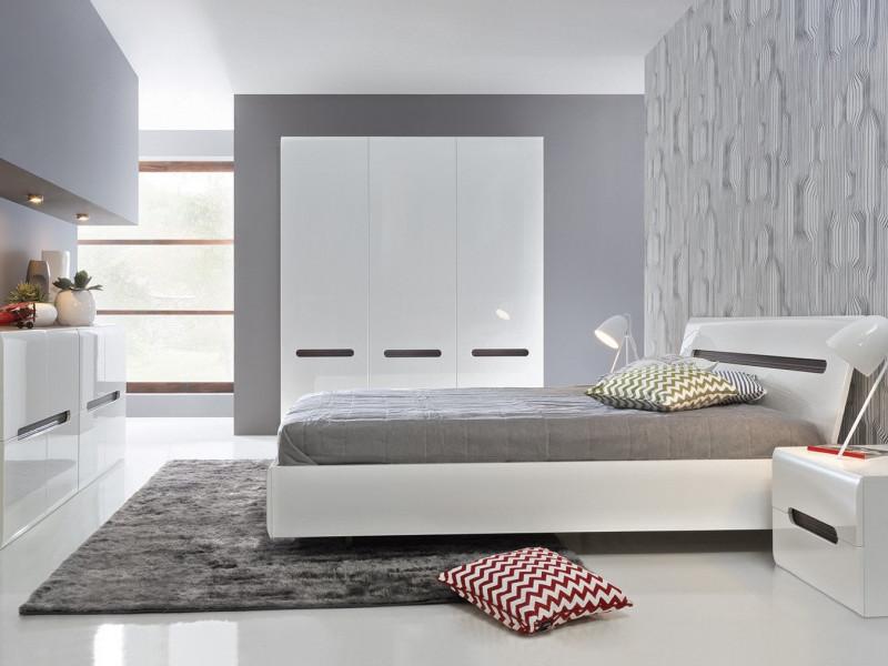 white high gloss king size bedroom furniture set bed frame wardrobe sideboard bedside cabinet azteca trio s504 bedroom set trio