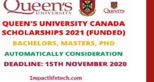 Fully Funded Queen's University Scholarships in Canada