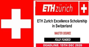 ETH Zurich Excellence Scholarship in Switzerland 2021