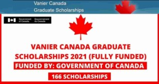 Government of Canada Vanier Canada scholarships 2021