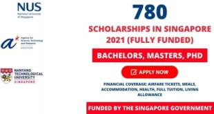 Fully Funded 780 Scholarships in Singapore 2021