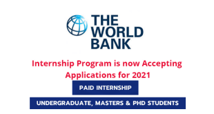 Fully Funded World Bank Summer Internship 2021